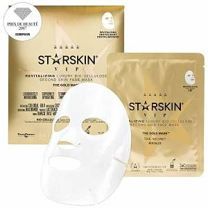Lavish your skin in luxury with the STARSKIN The Gold Mask™ VIP Revitalizing Luxury Coconut Bio-Cellulose Second Skin Face Mask; a rejuvenating sheet mask that delivers a star-like glow.  Working to transform dull, dry and lacklustre complexions, the mask fits closely to the contours of the face and delivers