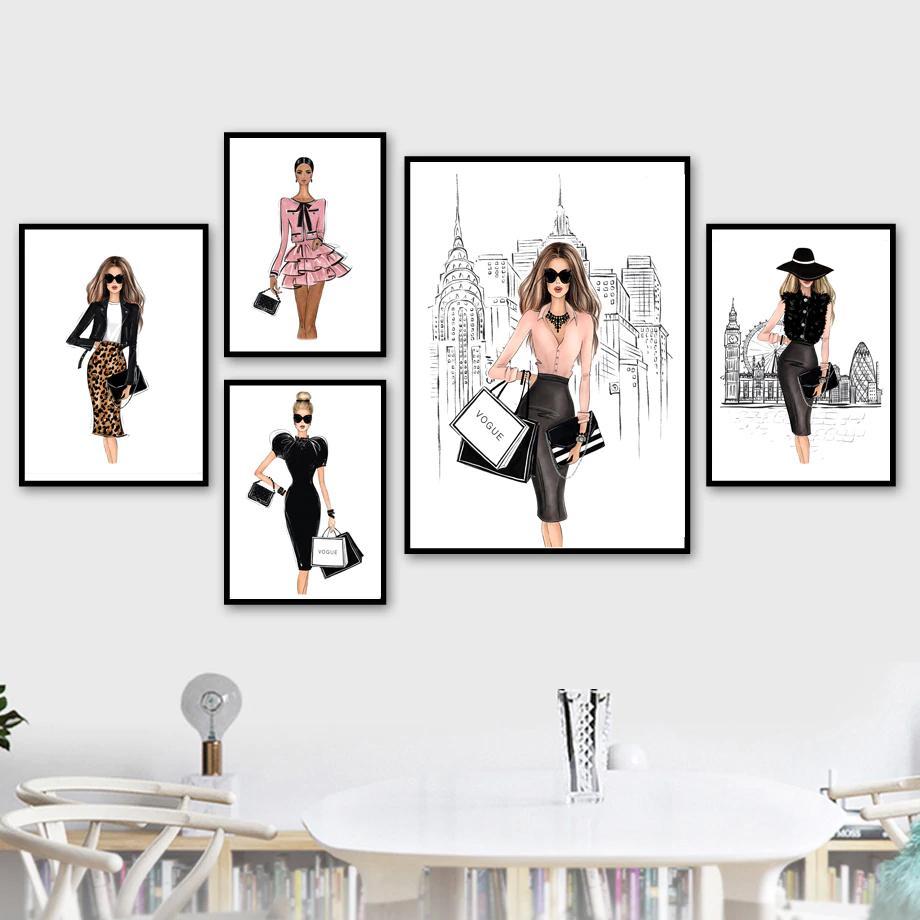 London Paris New York Fashion Wall Art Designer Boutique Fine Art Canvas Prints Nordicwallart Com Fashion Wall Art Girls Wall Art Fine Arts Posters