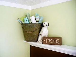 DIY Floating Shelf good idea for wrapping paper and decorations