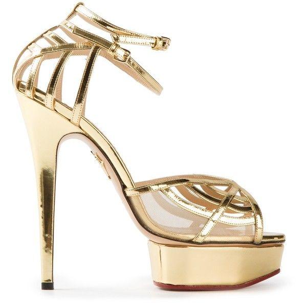 Gold platform metallic sandals