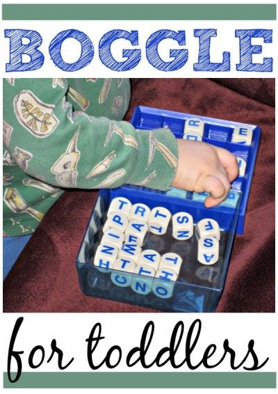 Use Boggle to help toddlers and preschoolers with fine motor skills. Important for writing! Also encourages letter recognition.