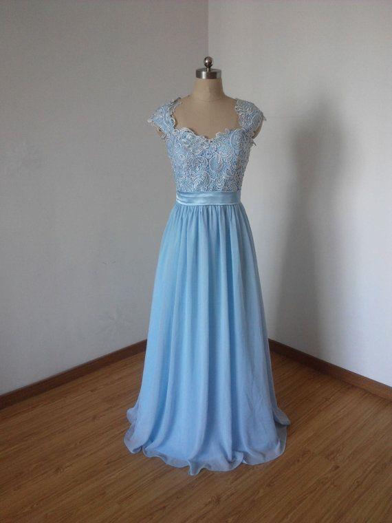 Cap Sleeves Sweetheart Light Sky Blue Lace Chiffon Long Bridesmaid ...