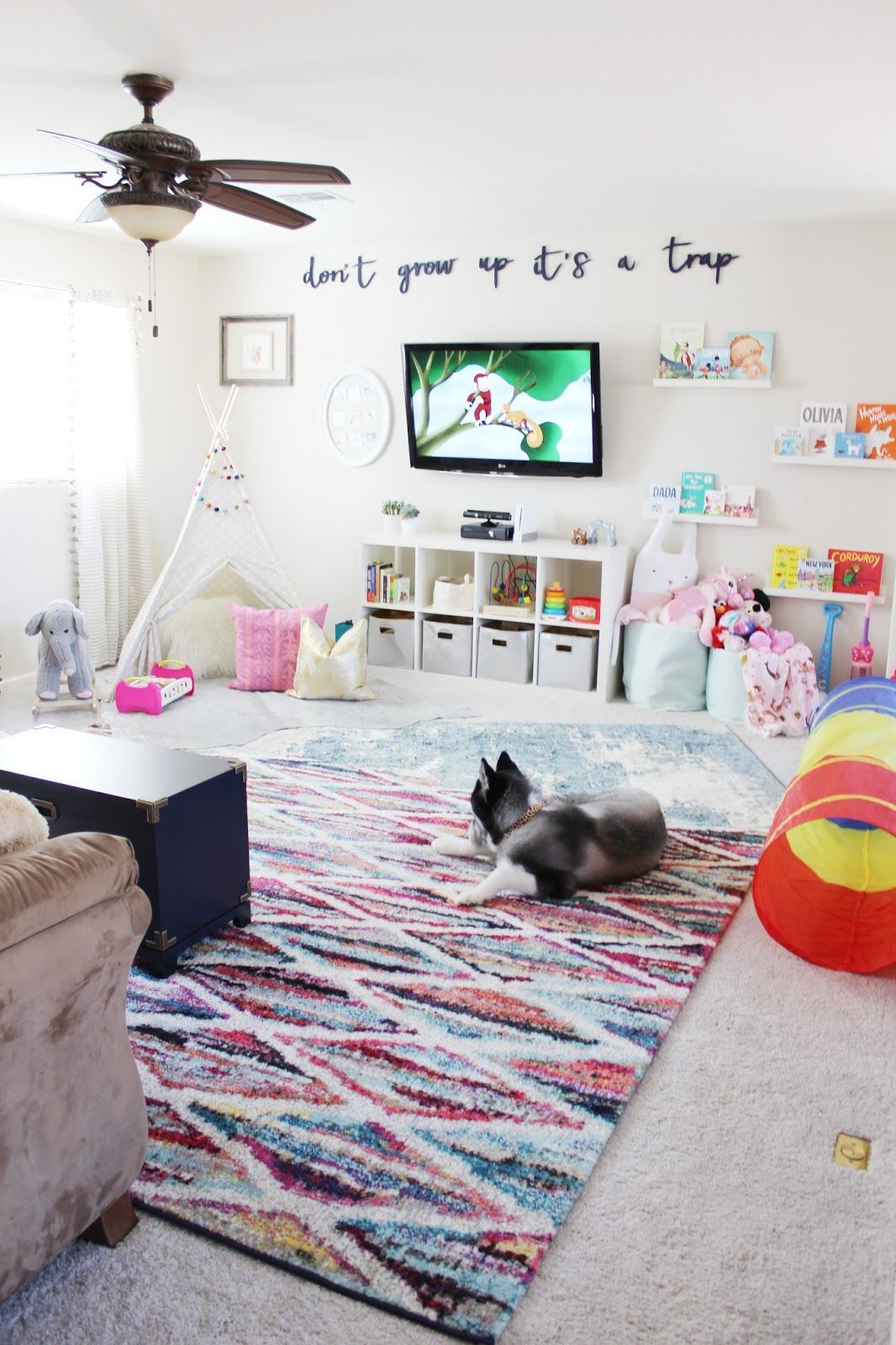 Playroom Reveal By Aubrey Kinch With Rugs Usa S Tracce Tc01 Distressed Foggy Medallion Rug Albina Streaked Trellis Cr01 Rug And Seren For The Home Baby Playroom Colorful Playroom Loft Playroom