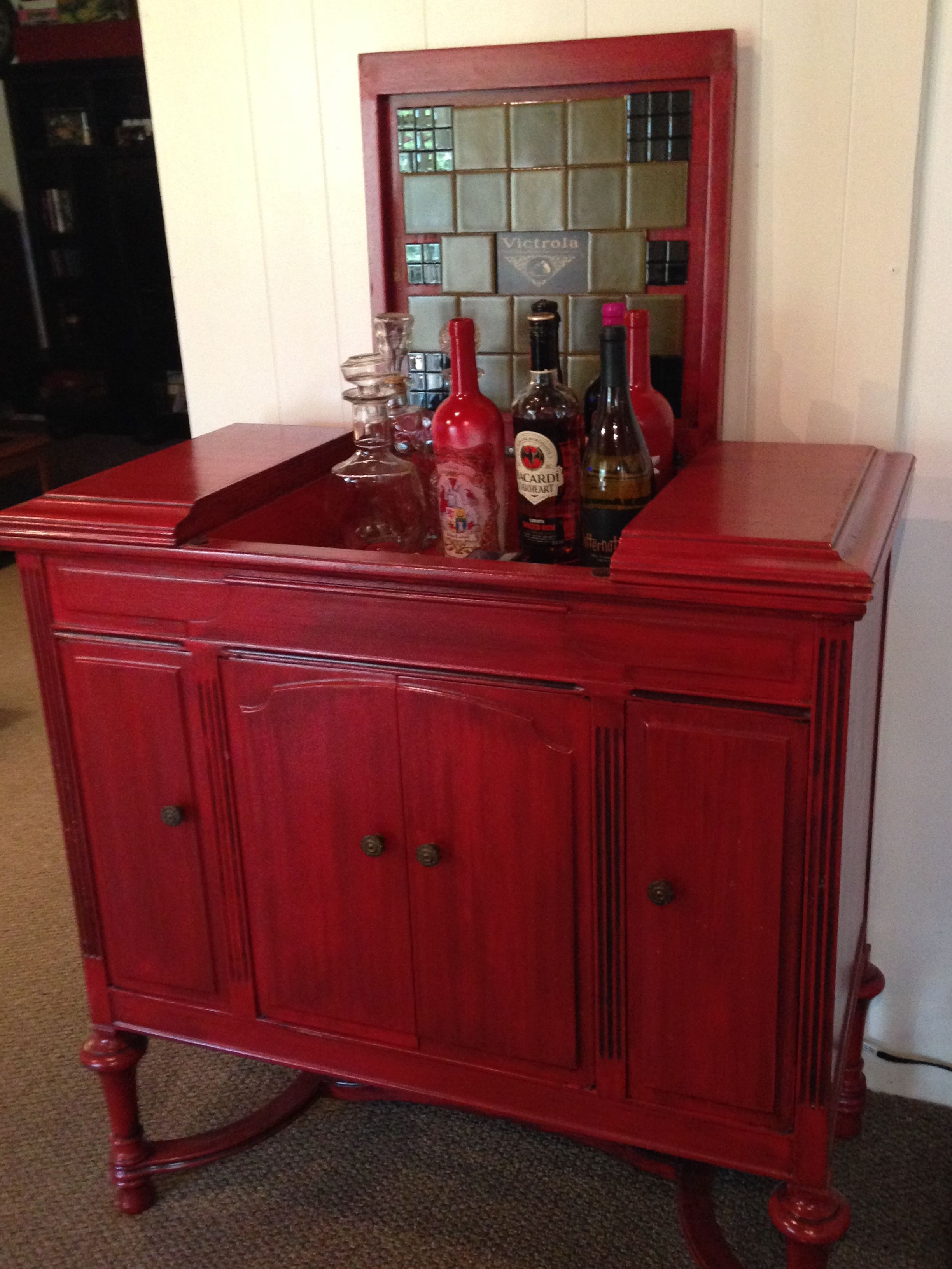 Vintage Victrola Cabinet The Patina Was Already There Along With The Original Tile We Have Used It As My Hus Diy Furniture Projects Furniture Diy Bar Set Up