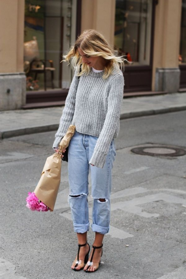 Baggy boyfriend jean, T strap heels and cozy sweater. This is a ...
