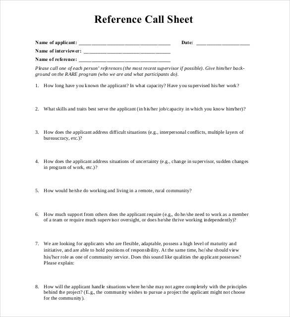 reference sheet template word