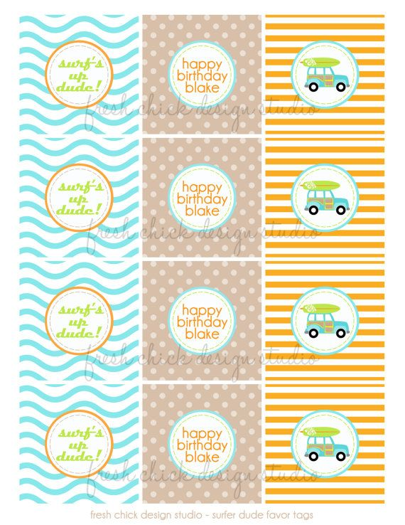 Printable Party Dots  Surfer Dude Collection by PetitePartyStudio, $6.00