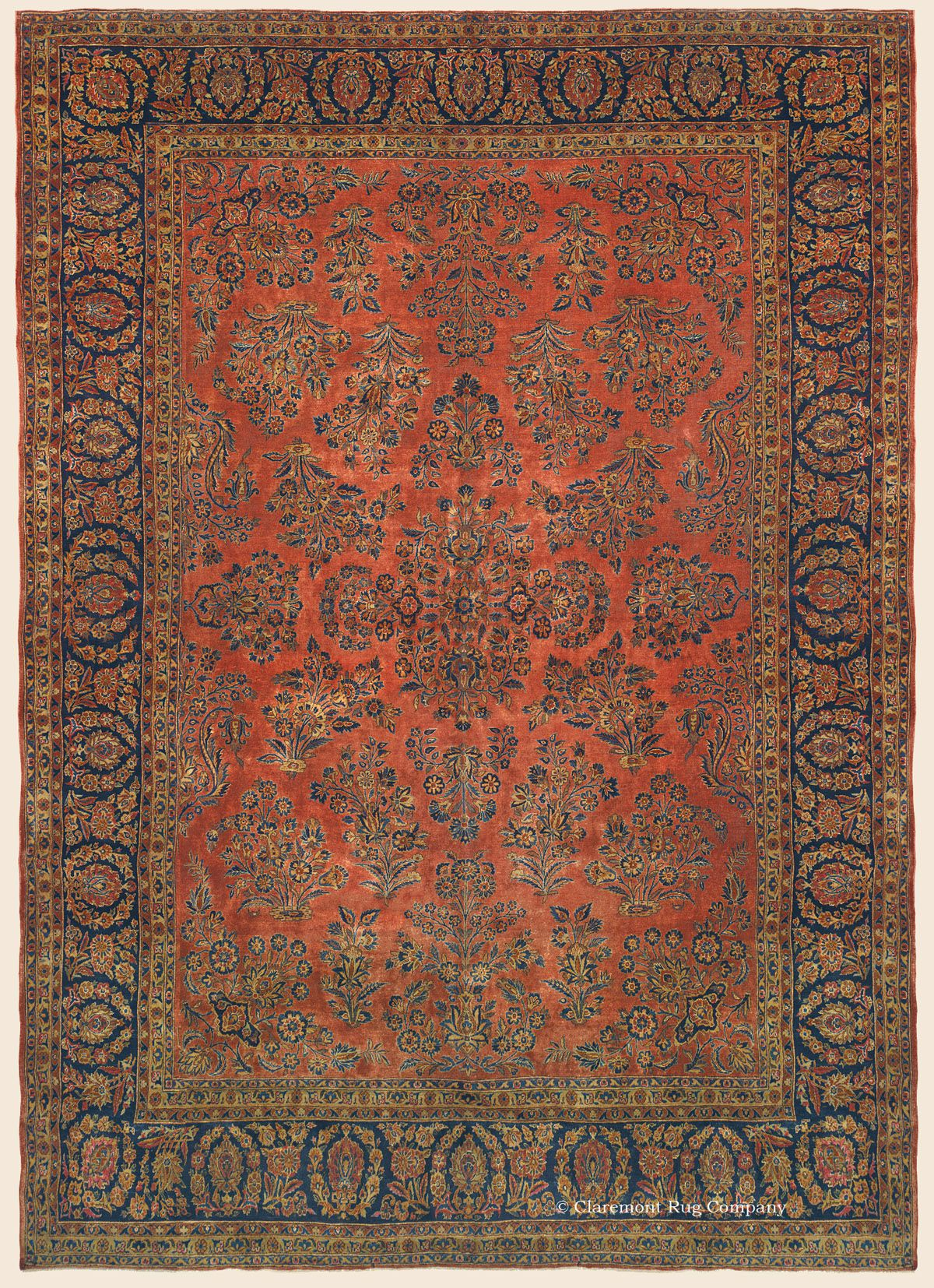 Kerke Kashan 9 10 X 14 2 Circa 1910 Central Persian Antique Rug Claremont Rug Company Antique Rug Living Room Rugs Claremont Rug Company