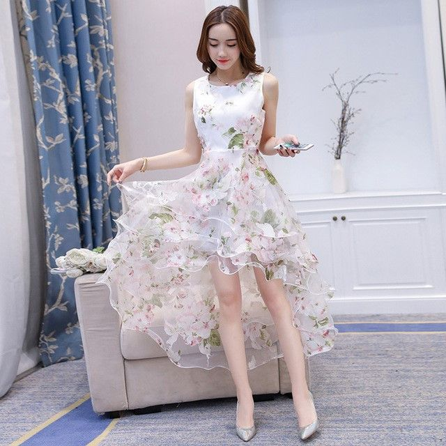 Suosikki 2017 High Low Short Front Long Back Beach Wedding: Bling Brides Bouquet Online Bridal Store O-Neck Sleeveless
