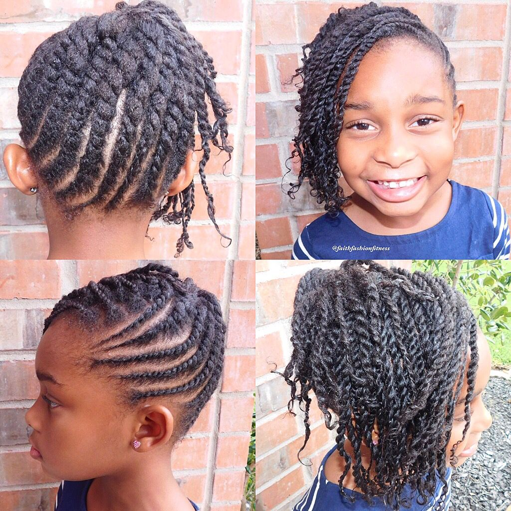 flat twist updo with side two strand twist bangs #naturalhair