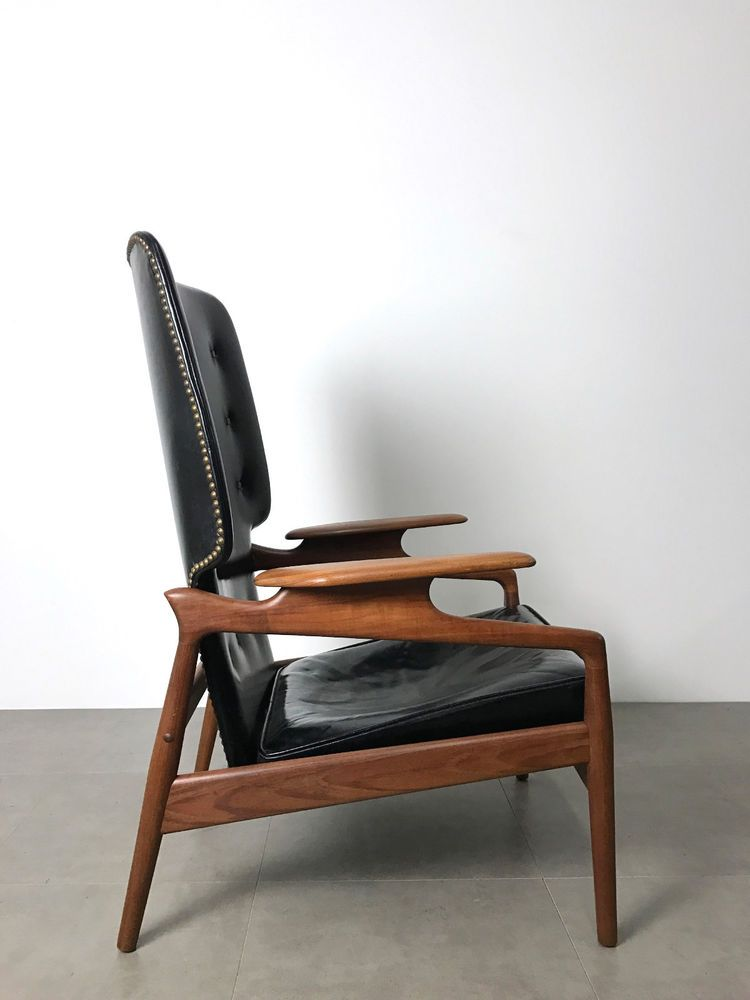 Mid Century Danish Modern Teak Black Leather Recliner Lounge Chair Finn Juhl Era Black Leather Recliner Leather Recliner Chair
