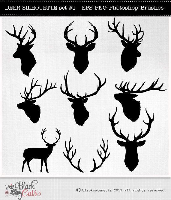 Deer Head Silhouettes Reindeer Antlers Clipart Deer Etsy Rentier Geweih Hirsch Silhouette Geweih