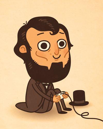 Abraham Lincoln Practicing Vampire Hunting On His X Box Illos I