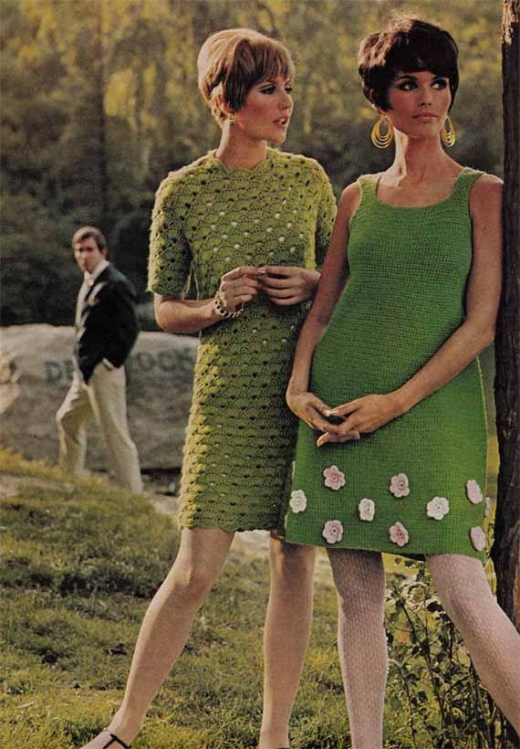 1960s VINTAGE CROCHET PATTERN to make Boho/Mod Mini Dresses 2 Designs; Mary Quant flowers