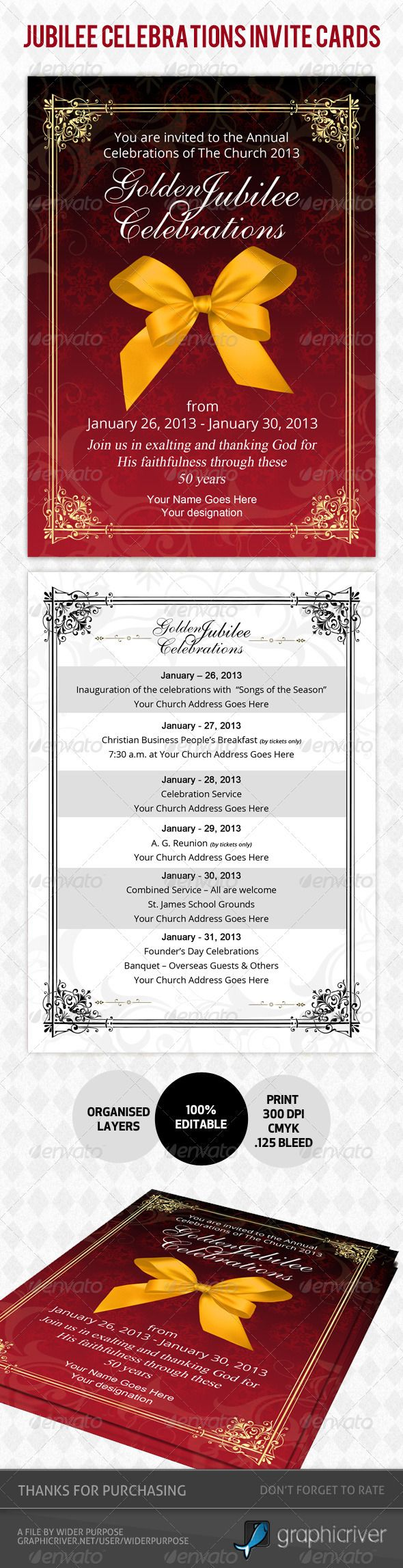 Golden Jubilee Invitation Card - Ideal for all your \