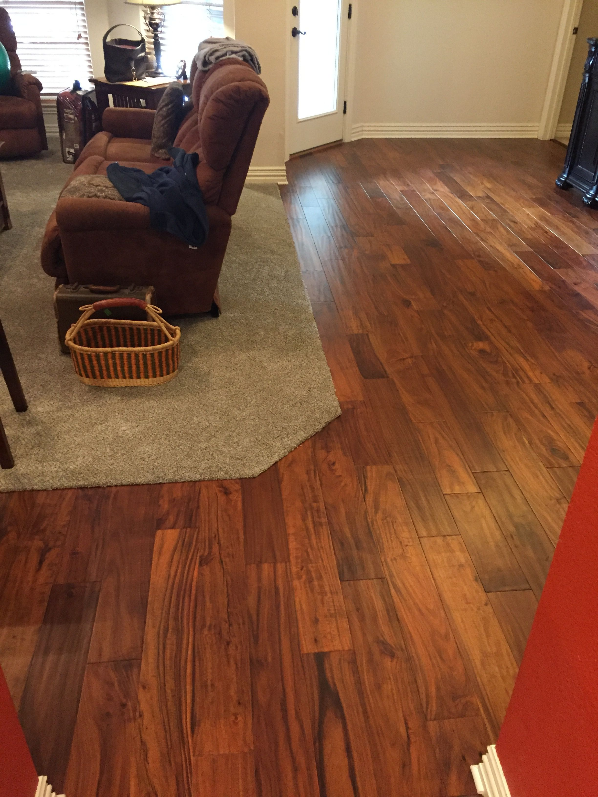 Acacia Wood Floor With Carpet Inset
