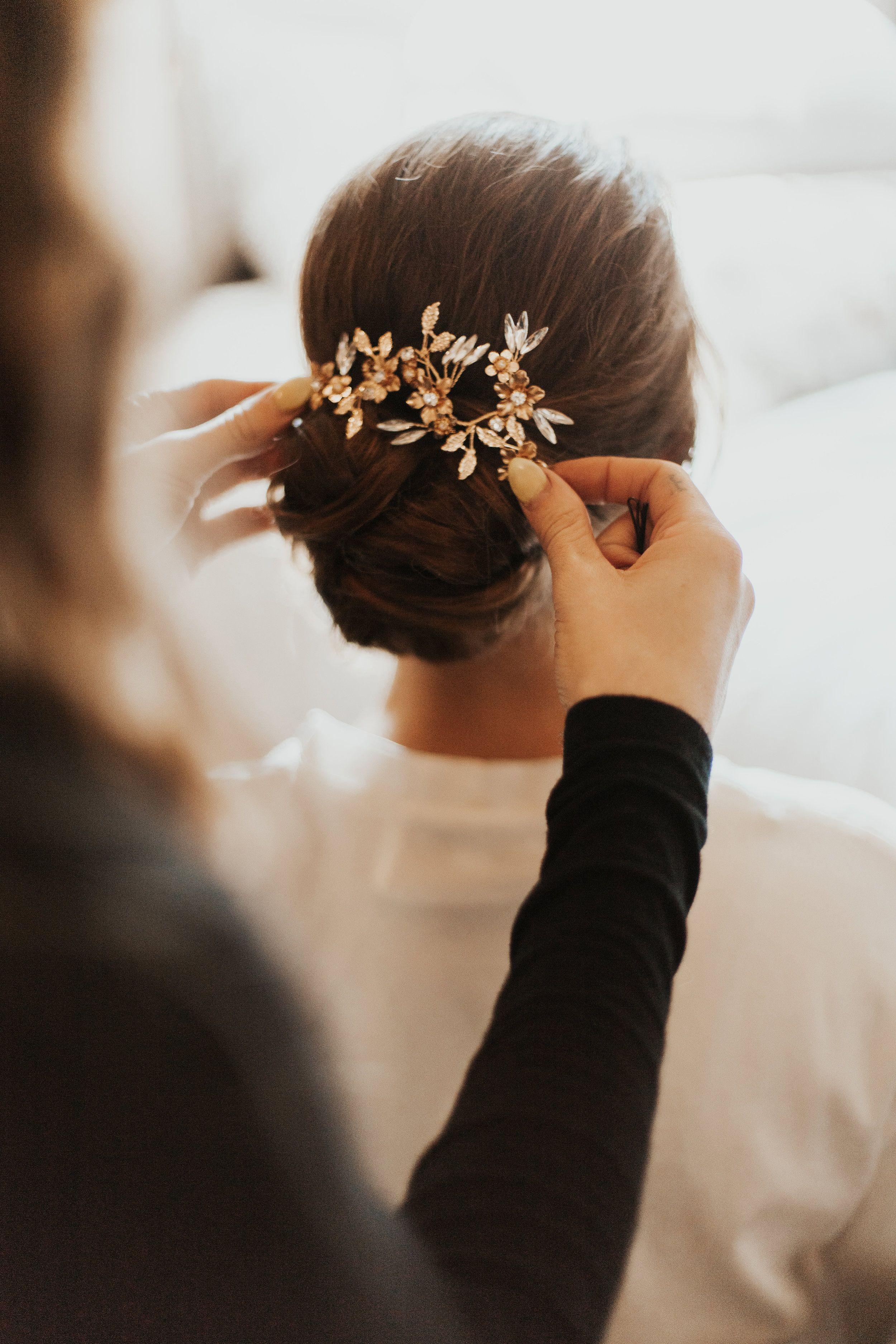 gold bridal hair piece | gold flower crown | bridal