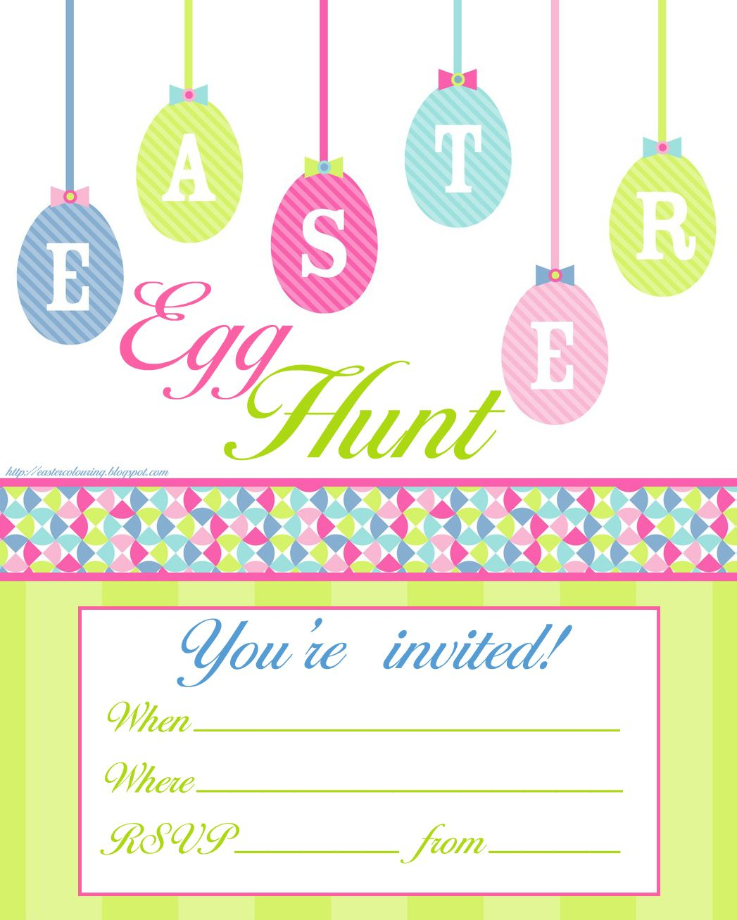 Easter Egg Hunt free printable invitation - print however many you ...