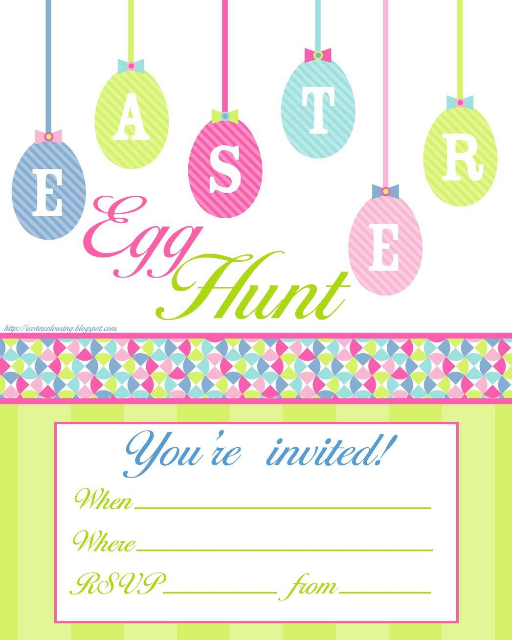 Easter Egg Hunt Free Printable Invitation