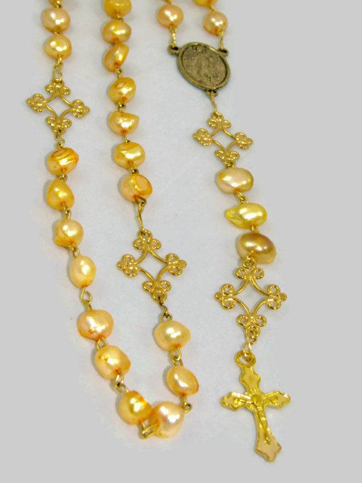 Yellow Freshwater Pearl Ladies or Girls Rosary Chain  by nonie615, $35.00