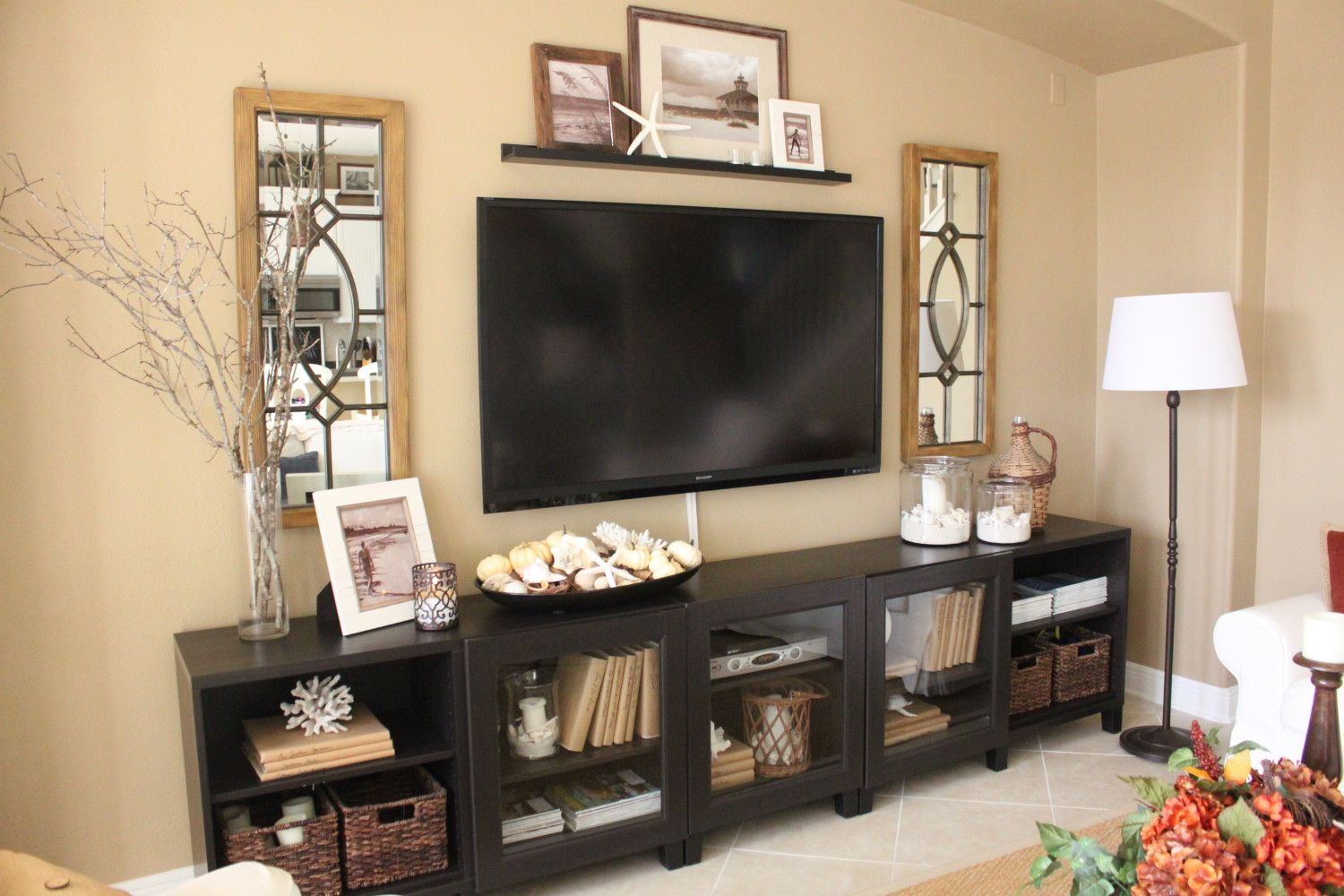 Decorating Ideas Around Tv On Wall Family Room After The Big Reveal Living Room Ideas