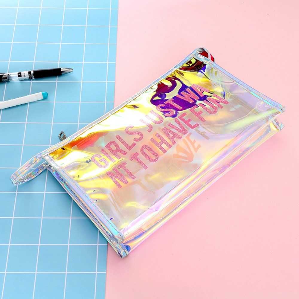 Clear Holographic Cosmetic Bag Travel Makeup Bag