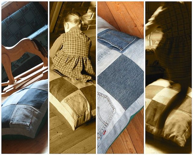 Recycled Jeans Pillow Flickr Photo Sharing Shows Sides Of