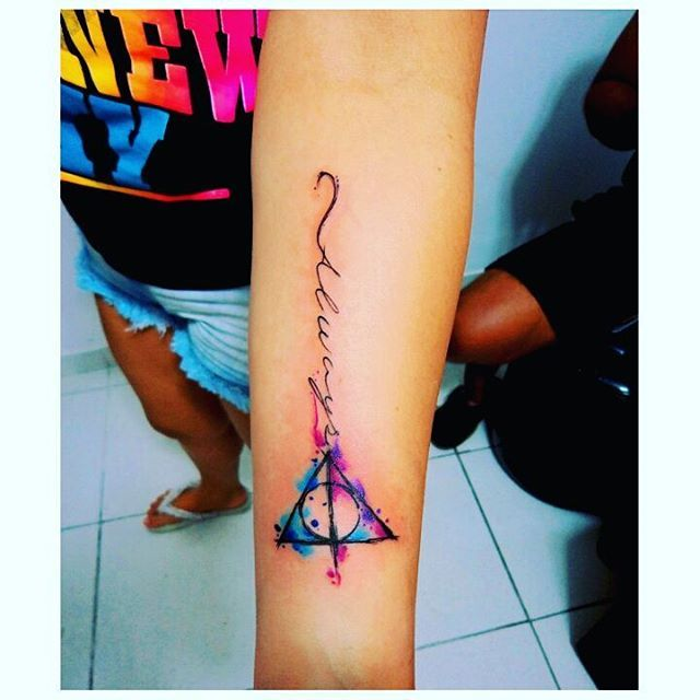 Harry Potter Watercolor Sleeve Tattoos Tattoos Tattoos For Guys