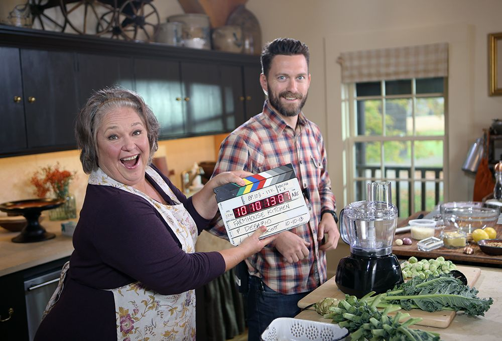On set, goofing around. Farmhouse rules, Nancy fuller