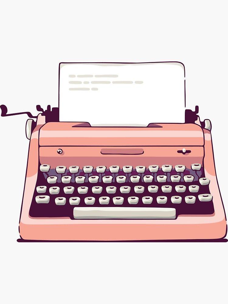 Pink Retro Typewriter Sticker By Sundrystudio In 2020 Retro Typewriter Vans Stickers Storybook Art