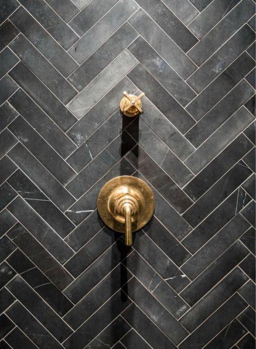 Skinny Charcoal Grey Black Tile In Herringbone Pattern For Shower