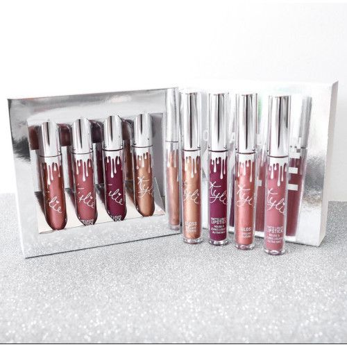 Buy Kylie Cosmetic Full Size 4 Piece Holiday Kit Matte Liquid Lipsticks And Gloss In Usa Uk Australia Germany At Grea Kylie Cosmetic Makeup Cosmetics Makeup