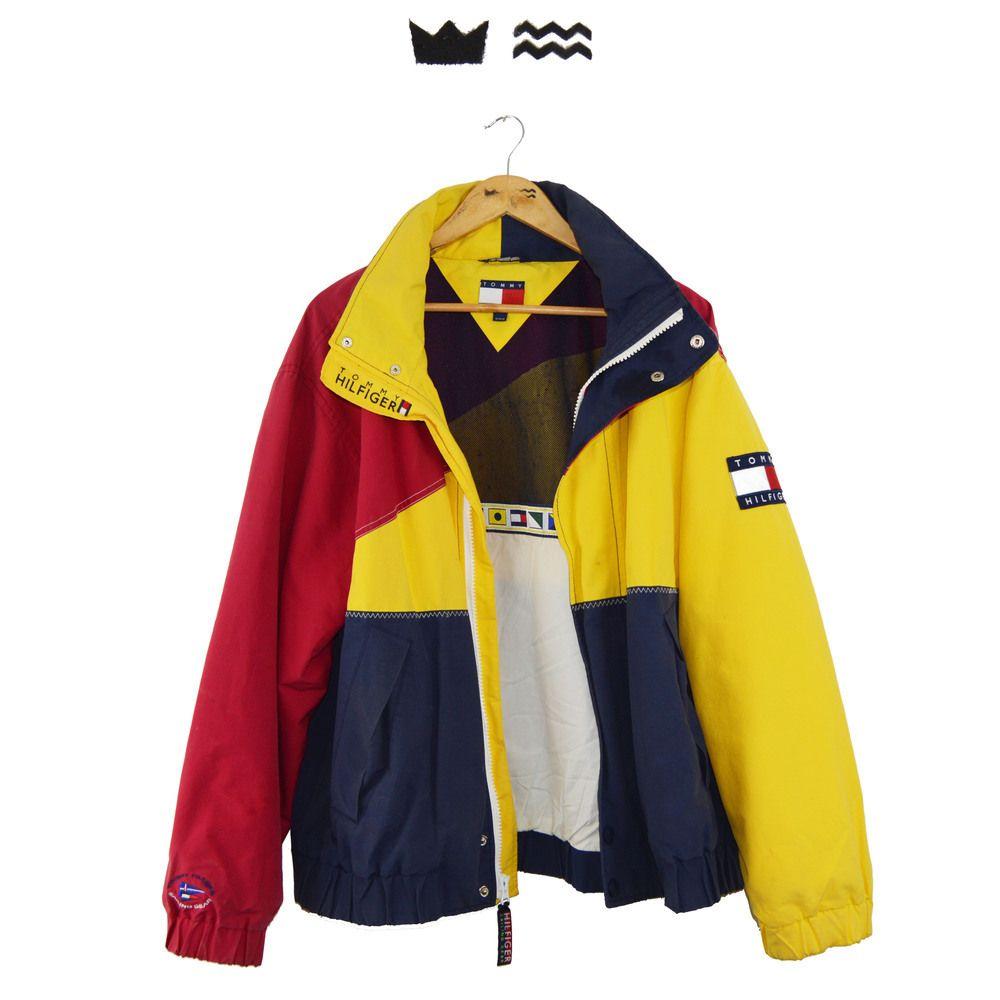 90s vintage tommy hilfiger sailing gear jacket mens. Black Bedroom Furniture Sets. Home Design Ideas