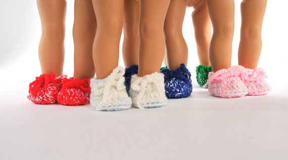 """American Girl doll clothes - crocheted bedroom slippers, one pair, you choose the color, green, red, white, blue, 18"""" inch dolls, PattiKuz"""