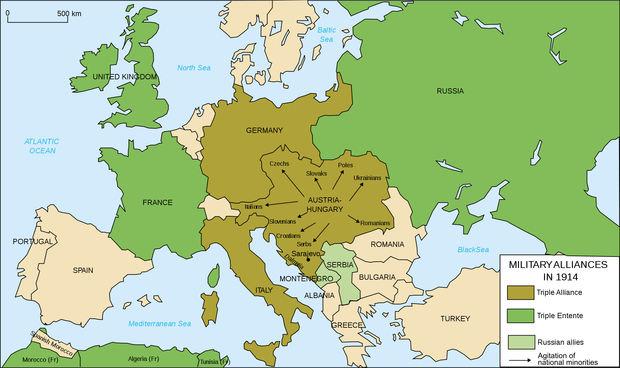 Europes Military Alliances In World War I The Cold War - Europe map 1871 1914
