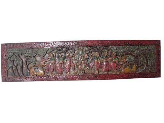 Indian Antique Wall Decor Radha Krishna Rass Carved Wood Wall Panels Antique Wall Decor Carved Wood Wall Panels Antique Sculpture