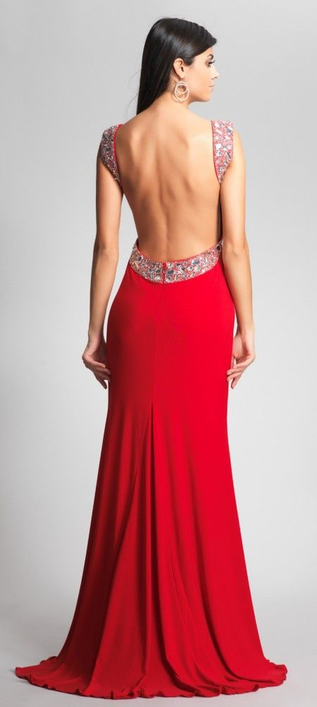 backless gowns | Jersey backless evening dress with beaded straps ...