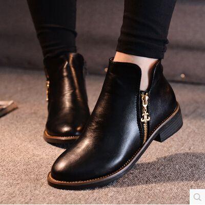 Botas de gamuza para mujer Invierno Elegante Cuero negro 38 Botas Flock Martin Cremallera para mujer Moda Recorte de tobillo bajo Punta redonda Botas de cuero de tobillo Martin Shoes