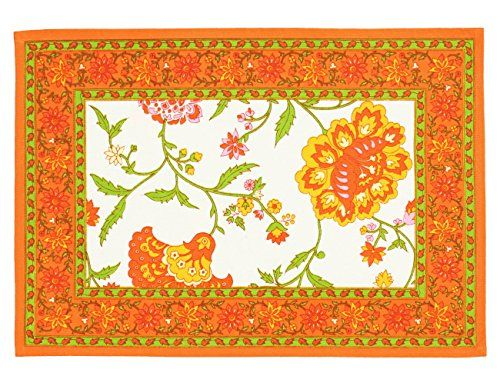 """Indian Cotton Placemats for the Kitchen Table - Orange Yellow Green Floral - Set of 6 Washable 13"""" x 19"""" Place Mats ShalinIndia http://www.amazon.com/dp/B00TAU1ODI/ref=cm_sw_r_pi_dp_bNiXvb1JK7330"""