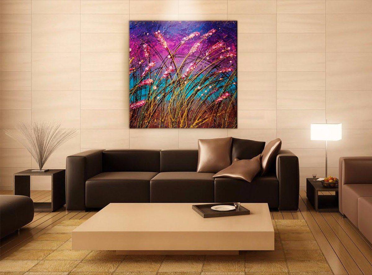 Cuadros modernos al oleo flores espigas rosas pintura 2 en mercadolibre flores for Cuadros para salas pequenas