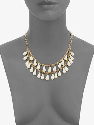 New Kate Spade Shimmer Teardrop Double Chain Necklace | eBay