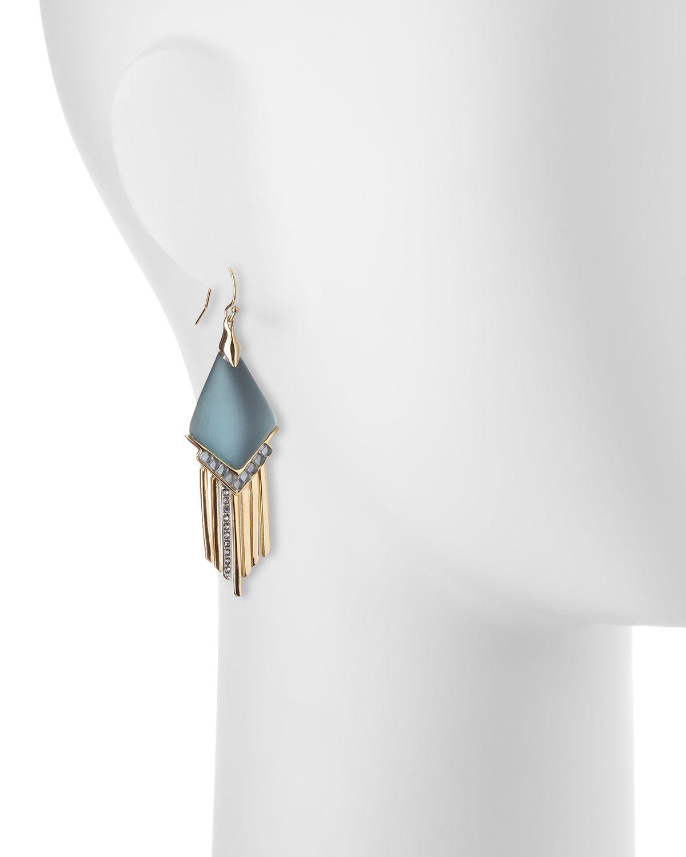Fringed Chevron Lucite Earrings