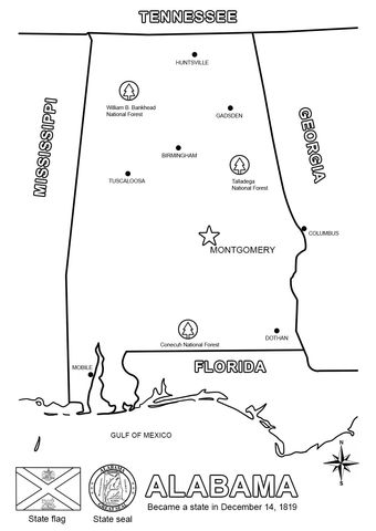 Click to see printable version of Alabama Map Coloring