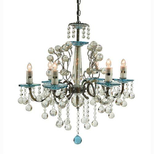 Rovello Iron Six-Light Crystal Chandelier with Blue Crystal Glass ...