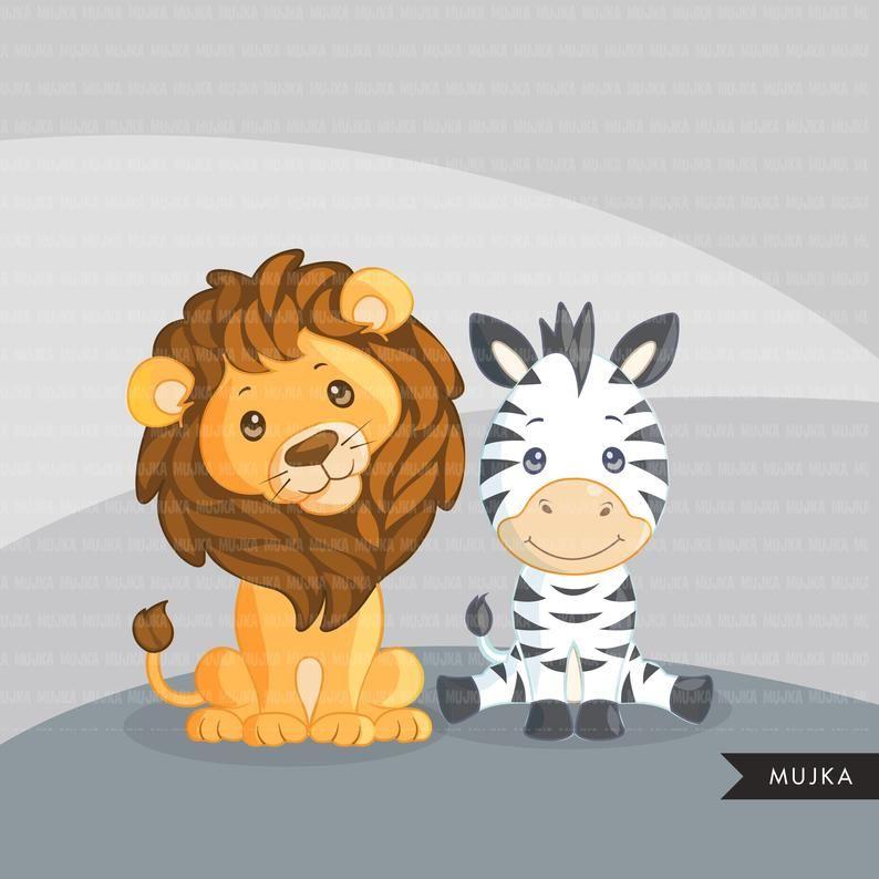 Safari Animals Clipart Lion Zebra Giraffe Rhino And Tiger Etsy In 2021 Animal Clipart Safari Animals Animals