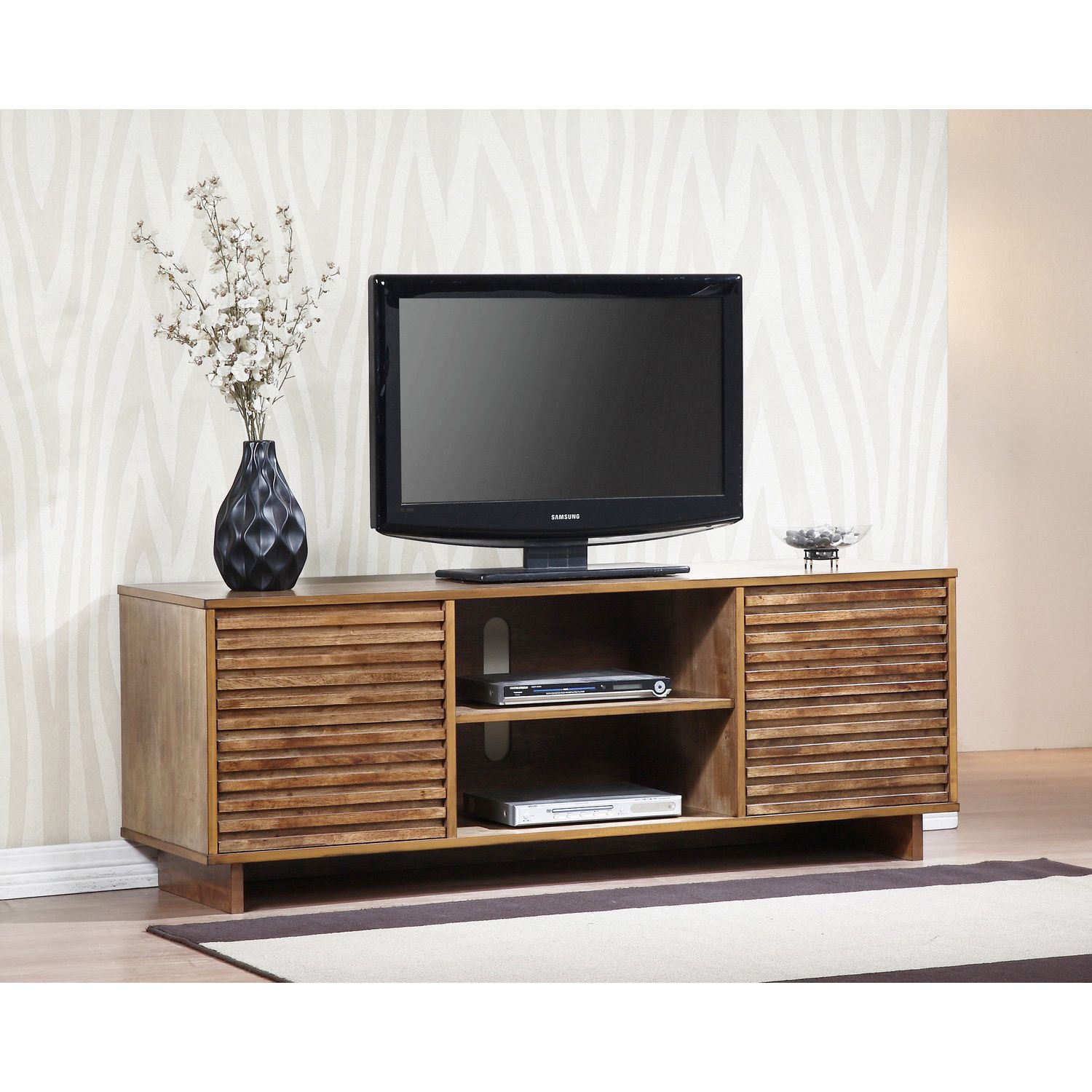 Bring a mid century modern touch to your home decor with this beautiful array home entertainment center finished in oak this unit offers generous storage