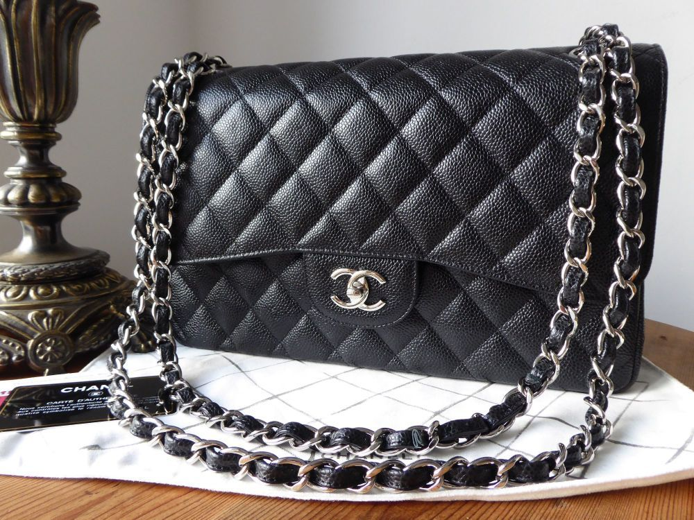 dd7290d3abab2b Chanel Classic Jumbo Double Flap in Black Cavier with Shiny Silver Hardware  Chanel Classic Jumbo Double Flap in Black Cavier with Shiny Silver Hardware  ...