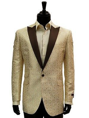 Manzini Mens Cream Gold Gilded Brown Paisley Formal Dress Party ...