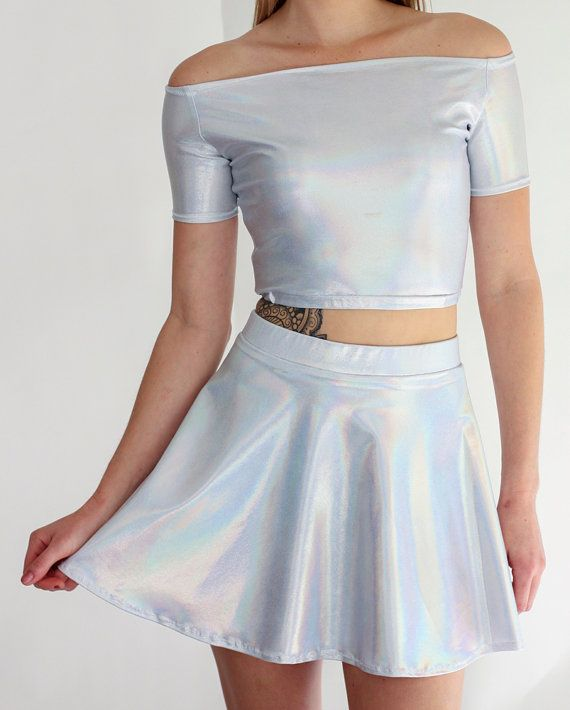 25a7743f8f71b7 Silver Reflective Holographic Off Shoulder Crop by SpikesnSeams ...