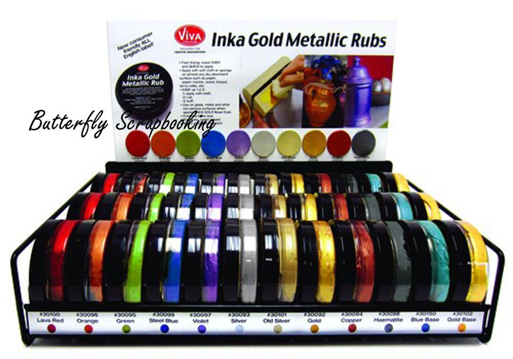 Viva Inka Gold Metallic Rub Paints 12 Piece Set Kit easy to use Viva Decor NEW in Crafts | eBay